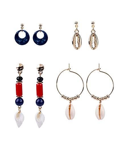 SIX 4er Damen Ohrring Set in goldfarben und rot, blau, weiss, verschiedene Ohrhänger mit schönen Details wie Musch, Perlen, Stein, Acryl (795-222)
