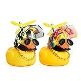 PiAEK Juguetes de Pato de Goma, Decoraciones de Tablero de Coche de Pato, Adornos de Coche de Pato de Goma, Pato Fresco con hélice / Casco / Gafas de Sol / Cadena de Oro (Verde + Colorido)