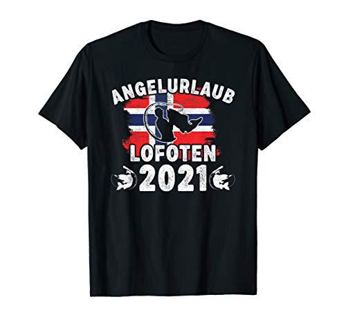Herren Angelurlaub Norwegen Angeln Lofoten 2021 mit Norwegenflagge T-Shirt