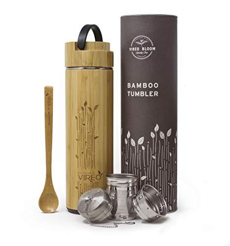 Vireo Bloom Teeflasche aus Rostfreiem Edelstahl Teebereiter Tee-Ei: Bambus Thermobecher | Tee & Kaffee Reisbecher | Thermoflasche | Obst-Infuser Trinkflasche Umweltfreundlicher (480ml)