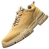 Zapatos con Punta de Acero Indestructible Hombre,Punta de Acero Zapatos Ligero Zapatos de Trabajo Respirable Construcción Zapatos Botas de Seguridad,Khaki▁44