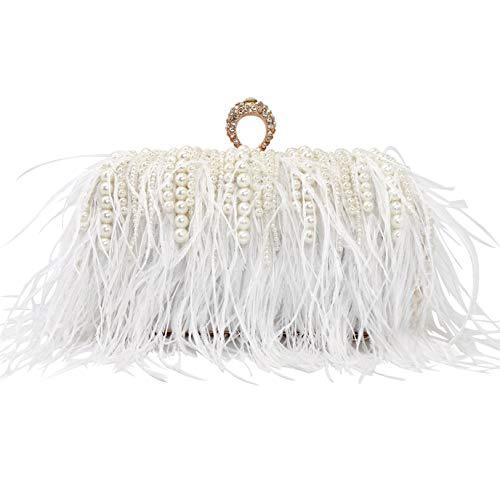 keland Pluma de avestruz con perlas Bolso de perlas Embragues Bolso de noche para mujer Cóctel de boda Bolso de fiesta de cumpleaños (Blanco)