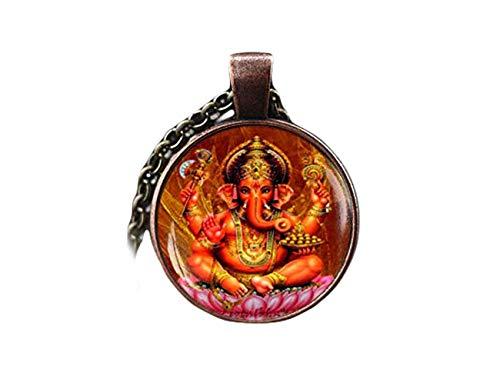 Ganesha-Anhänger, Ganesha-Halskette, Ganapati Vinayaka God Halskette, indischer Gott Schmuck, indischer Hindu-Gott, Hinduismus religiöser Schmuck, ein schönes Geschenk.