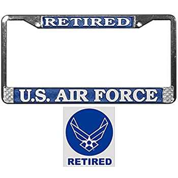 USAF Retired License Plate Frame Bundle with USAF Retired Decal