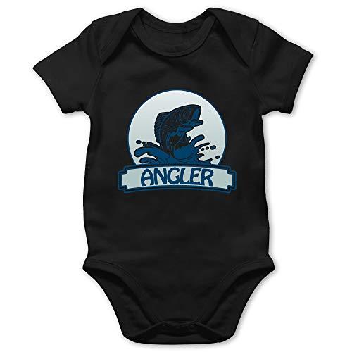 Sport Baby - Angler Button - 3/6 Monate - Schwarz - Angel Kleidung - BZ10 - Baby Body Kurzarm für Jungen und Mädchen