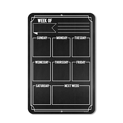 Honey Dew Gifts Chalkboard Style Weekly Calendar - Durable 12 inch by 18 inch Metal Tin Sign - Hang on Your Wall Photo #2