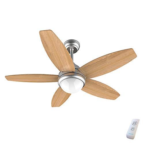 Cecotec Ventilador de Techo con Mando a Distancia y Luz EnergySilence Aero 490. 50 W, Bajo Consumo, 5 Aspas Innovadoras Reversibles de 42'', 3 Velocidades, Acabado en Madera