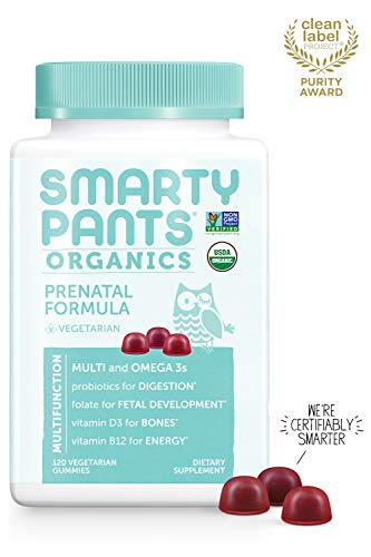 Daily Organic Gummy Prenatal Multivitamin: Probiotics, Biotin, Vitamin C, D3, E, B12, A, Omega 3, Zinc, Selenium, Niacin, Iodine, Choline, Methylfolate by SmartyPants (120 Count, 30 Day Supply)