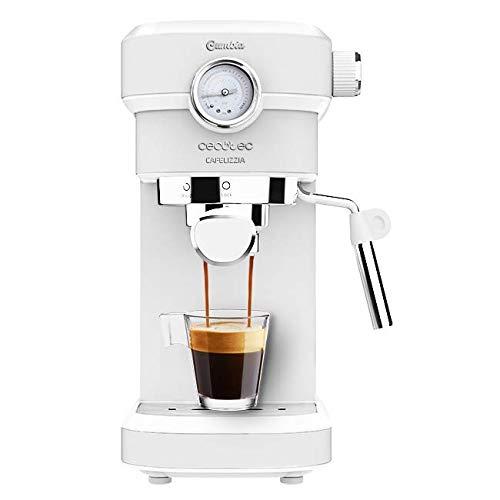 Cecotec Cafelizzia 790 White Pro Kaffeemaschine für Espressos und Cappuccino mit Manometer, 1350 W, Thermoblock-System, 20 bar, Automodus für 1-2 Kaffee, schwenkbarer Dampfglätter, 1,2 l, Weiß