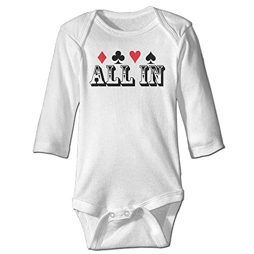 SDGSS Ropa para bebés Bodysuits Unisex Baby One-Piece Suit Poker All In Gambler Lovers Long Sleeve