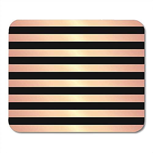 Alfombrilla de juego con diseño de rayas de color oro rosa vintage en caja negra elegante abstracta
