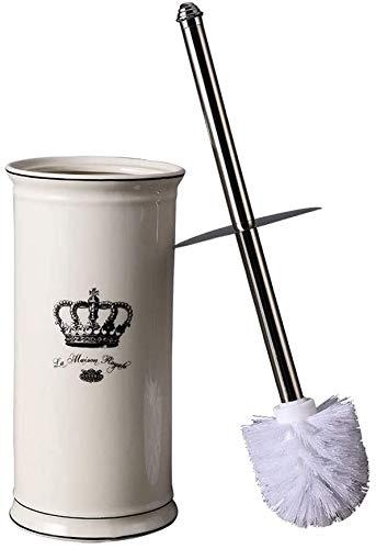 WC-borstelset, toiletborstelset, keramiek, toiletborstels en houder Crown, toiletborstelset, badkamer, toiletborstel, roestvrijstalen handgreep, losse borstels