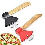 2Pcs Rotella Tagliapizza, Taglierina per Pizza in Acciaio Inossidabile Creativo Ascia, Rotella Pizza con Salvalama e Manico bambu, per Pizza Strumenti per Tagliare La Ruota della Pizza( Nero,Rosso)