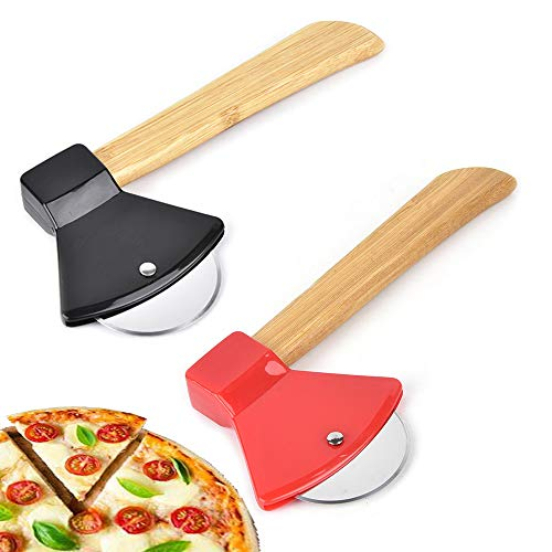 N\O 2 Stück Axt Pizzaschneider, Pizzaroller Pizza Cutter aus Edelstahl Pizzaschneider in Form von Axt, mit Fingerschutz und Bambusgriff für angenehme Handhabung(Rot,Schwarz)