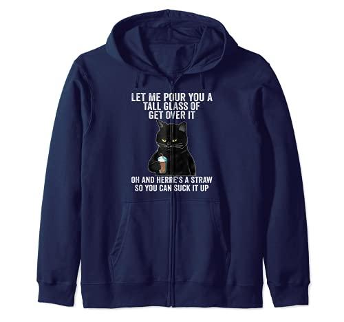 Gato negro, déjame darte un gran frasco de regalos Sudadera con Capucha