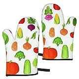 BONRI Verduras Cosecha de Verano Comida Vegana Guantes de microondas Un Juego de 2 Manoplas para Horno, Resistentes al Calor, Ideales para Hornear, Asar a la Parrilla, Barbacoa