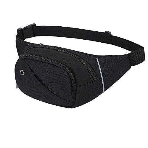Riñonera lienzo 3-zipper Fanny Pack cintura bolsa con correa ajustable para correr Fitness ciclismo senderismo viajes Camping deportes