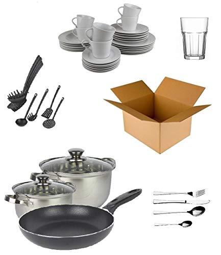 Haushalts-Starterpaket für 6Personen, Küchenutensilien, Besteck, Geschirr