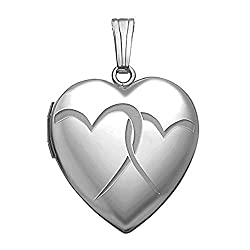 PicturesOnGold.com Sterling Silver Interlocking Hearts Heart Locket 3/4 Inch X 3/4 Inch