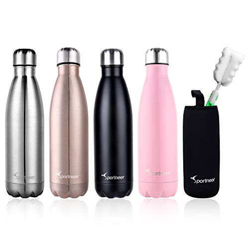 Sportneer 17oz Double Wall Vacuum Insulated Stainless Steel Water Bottle, BONUS A Cleaning Brush & A Bottle Cover, Rose Gold
