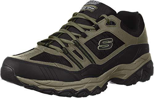 Skechers Men's After Burn Memory Fit - Strike Off Lace-Up Sneaker,Pebble/Black,10.5 4E US