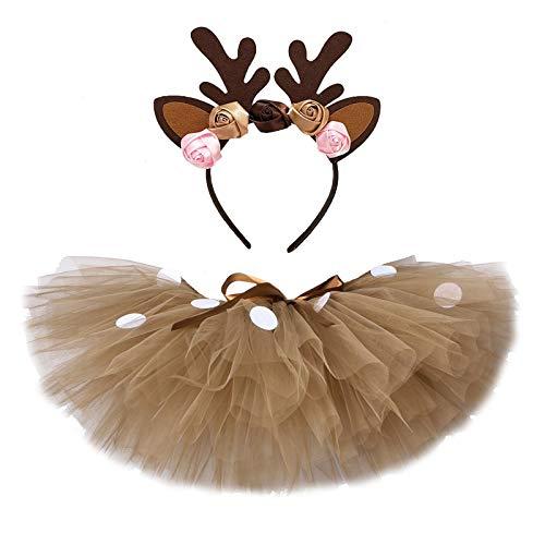 GuanRen Fluffy Brown Girl Tutu Falda Traje de Navidad Reno Reno Falda de Tul para Halloween Carnaval Traje de niños 1-14 años (Color : Skirt with Headband, Size : 18M)