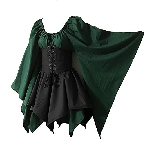 TMOYJPX Vestido Medieval Mujer Gotico Palacio Corsé Disfraz Halloween Mujer Bruja Gracioso Tallas Grandes, Disfraces Medievales Vestidos de Fiesta Elegantes (Verde oscuro+Negro, XL)