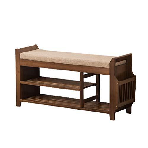 Yyqx Zapatero de madera maciza 2 capas simple pequeño zapatero hogar espacio multifuncional zapatero