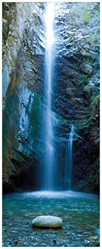 Wallario Glasbild Wasserfall bei Sonneneinfall - 32 x 80 cm in Premium-Qualität: Brillante Farben, freischwebende Optik