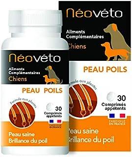 Néovéto Peau Poils comprimés naturels pour Chien à Base d'Actifs agréés par Les Services vétérinaires français, fabriqué e...