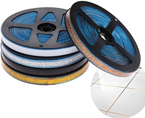 Pamura - Ceraband - Wanddeko - selbsklebendes Keramikband (6 Meter pro Rolle) - Dekoband - Fugenband - wasserabweisend - DIY - für Küche, Bad & Co (8 mm, weiß)