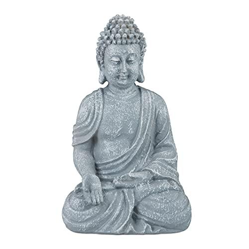 relaxdays Estatua Buda Sentado para Jardín o Salón, Resina Sintética, Gris Claro, 18 cm, polirresi