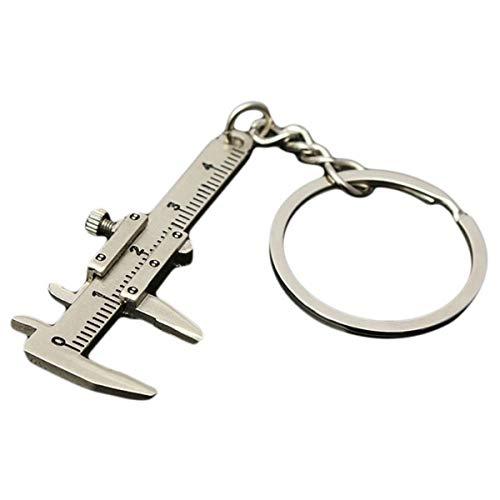 Winwinfly Mini Messschieber Form Keychain Portable Tool Zink-Legierung Schlüsselanhänger Frauen Schmuck,Silber