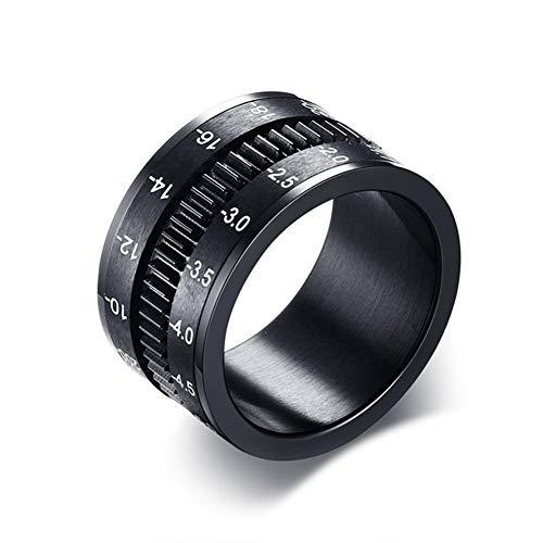 12mm Titan Stahl drehbare Kamera Objektiv Ring schwarz Herren Ring Original einfache Verschiedene Trend Schmuck.-8