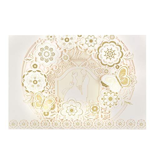 Wolfteeth 20 pz Biglietto d'auguri Inviti con Buste per Matrimonio Decorazioni Nozze Sposa e Sposo Design