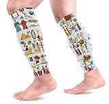 Ahomy - Chaussettes de compression pour mollet - Histoire du monde - Culture - Chaussettes de compression sans pieds - Pour attelles de tibia