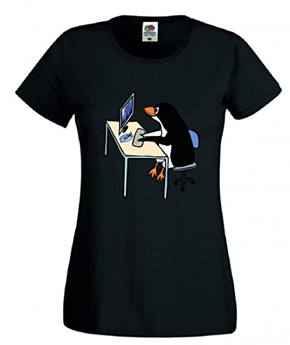 T-Shirt Linux- Tux- Administrator- Tier- Vogel- Computer- Schreibtisch- Job- BÜRO- Pinguin- Arbeit in Schwarz für Herren- Damen- Kinder