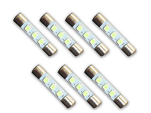 7 Warm White 8V LED Lamp Fuse-Type Bulbs for Sansui Receivers and Amplifiers