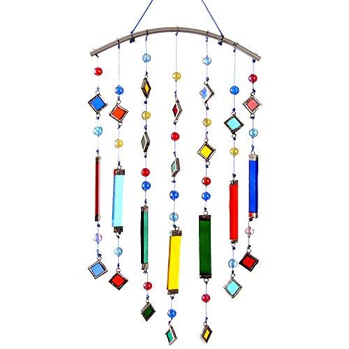 HAB & GUT -FM409- Carillon à Vent coloré, Perles et Barres en Verre, 38 cm x 14 cm - h x l -, Mobile pour décorer fenêtre, Mur, Chambre, terrasse et Balcon