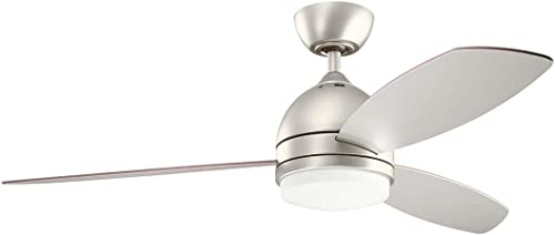 new arrival KICHLER 330002NI new arrival Protruding Mount, 3 Silver/Walnut Blades Ceiling fan with 55 watts discount light, Brushed Nickel outlet sale