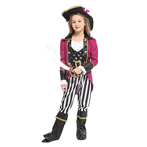 lkouq Halloween Pirata del Caribe Capitán Jack Sparrow Tricornio Disfraz De Cosplay para Niños Chica Party Cap Dress Up M G-0329