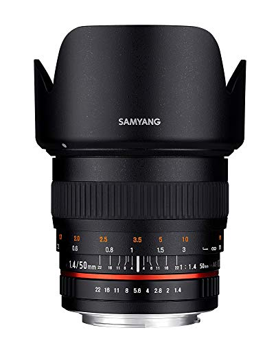 Samyang F1111105101 - Objetivo fotográfico DSLR para Sony A (Distancia Focal Fija 50mm, Apertura f/1.4-22 AS UMC, diámetro Filtro: 77mm), Negro