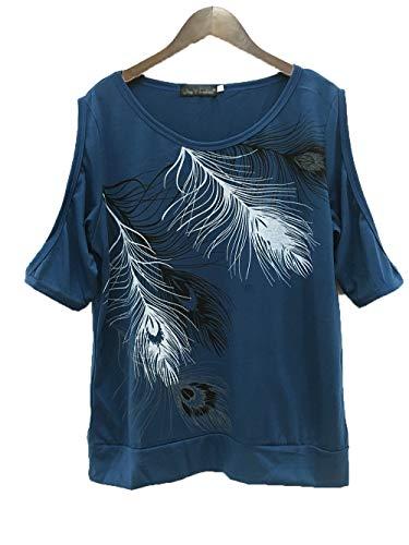 Camiseta Estampada de Plumas sin Tirantes Cuello Redondo Tallas Grandes Mangas Cortas