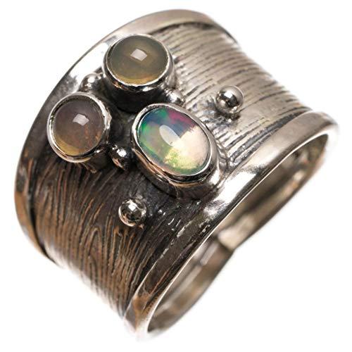 925er Sterling Silber Opal Einzigartig Handgefertigt Ringe 54 (17.3) S3152
