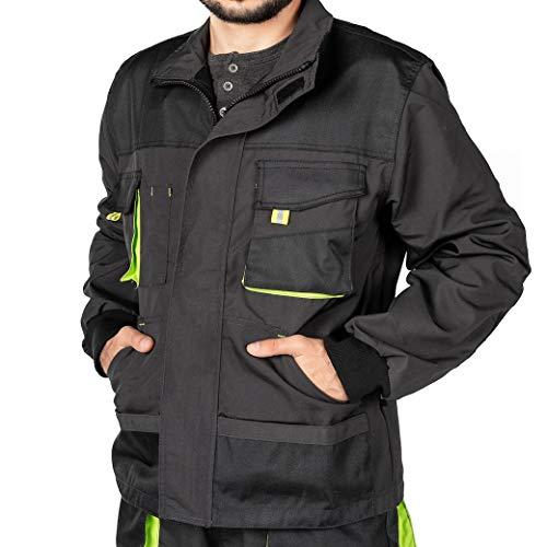 Arbeitsjacke männer, Arbeitsjacken herren, Schutzjacke mit vielen Taschen, Arbeitskleidung männer Größen S-XXXL, Qualität (L, Schwarz)