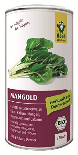 Raab Vitalfood Bio Mangold Pulver, vegan, glutenfrei, laborgeprüft, enthält natürlicherweise Eisen, Kalium, Mangan, Magnesium und Calcium, 210 g