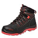 Willsky Zapatos De Seguridad A Prueba De Agua Para Hombre, Tapa De Punta De Acero Botas De Trabajo Tampón Transpirable Suave Suave Industrial Senderismo Zapatillas De Deporte,Rojo,43EU