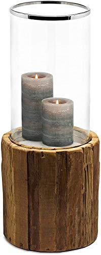 EDZARD Windlicht Greyburn, Teakholz, Glas, Edelstahl glänzend vernickelt, Höhe 57 cm, Durchmesser 28 c