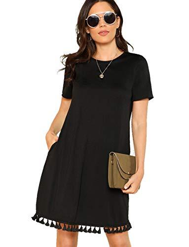 Romwe Women s Summer Short Sleeve Pocket Tassel Hem Loose Tunic T-Shirt Dress Black M