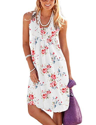 Jouica Women's Boho Floral Print Loose Casual Sleeveless Short Dress,Flower White,Large